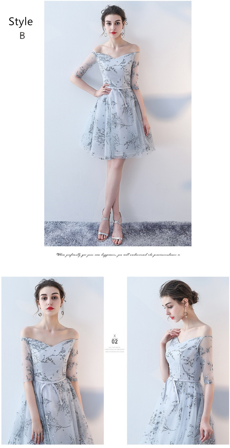 Flower Pattern Sashes Lace Knee Length Bridesmaid Dress 9