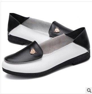 Осень мать рабочий обувь натуральная кожа женщины обувь скольжение - на балетки комфорта небуксующий обувь 4 цвета 1292