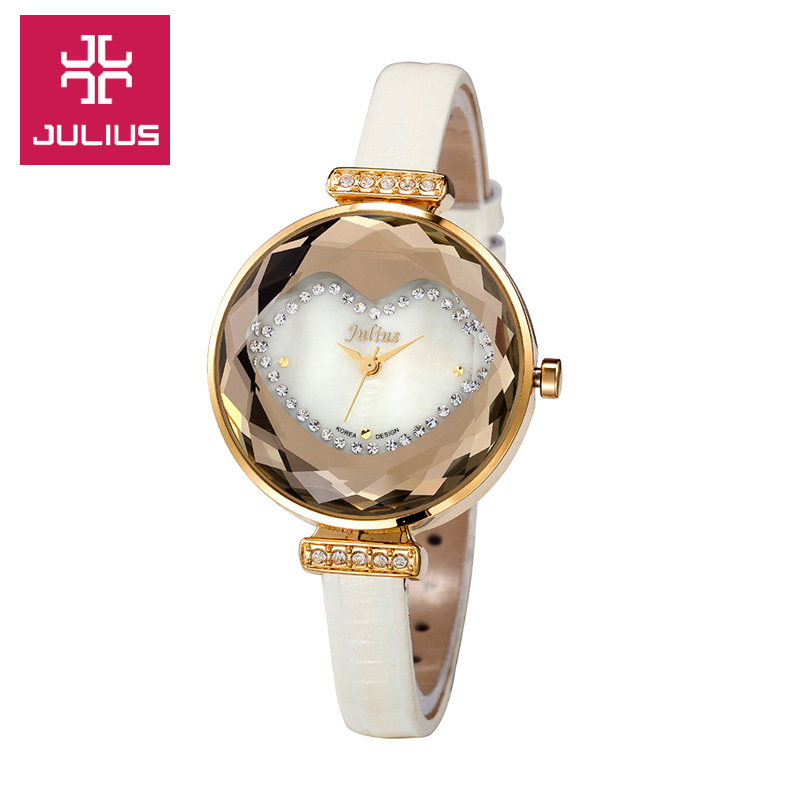 Top Julius Lady Women's Watch Fine Cute Fashion Hours Dress Bracelet Sexy Lips Leather School Girl Birthday Gift Box real functions julius shell women s watch isa mov t hours clock fine fashion bracelet sport leather birthday girl gift box