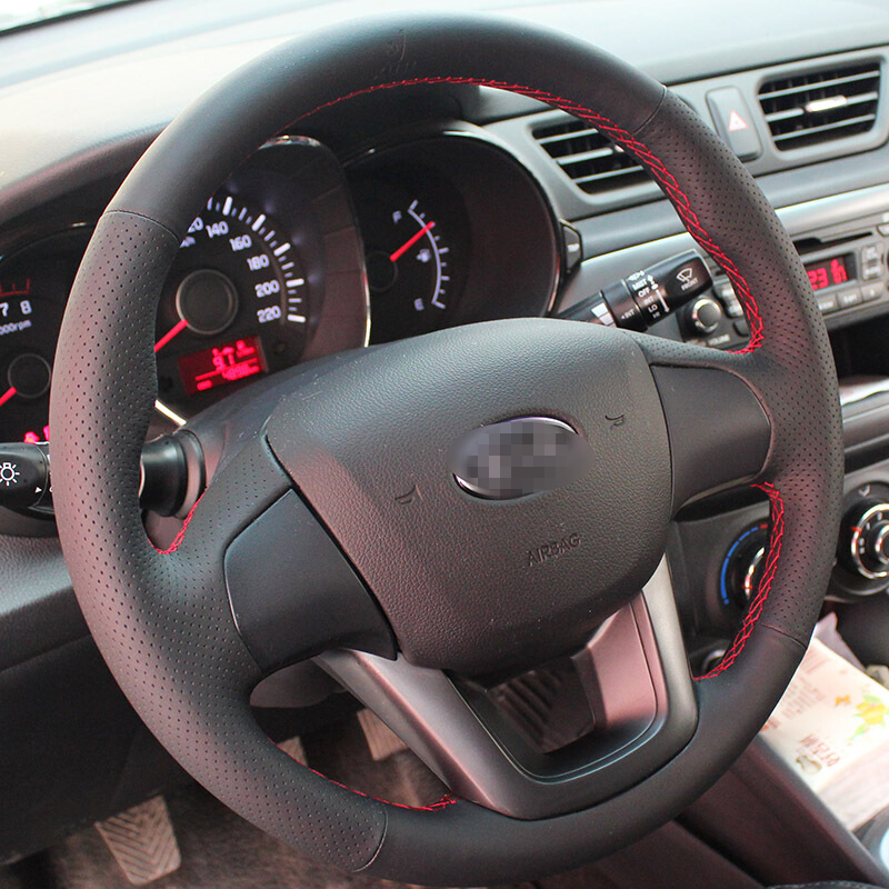 BANNIS Black Artificial Leather DIY Hand-stitched Steering Wheel Cover for Kia K2 Kia Rio 2011-2013
