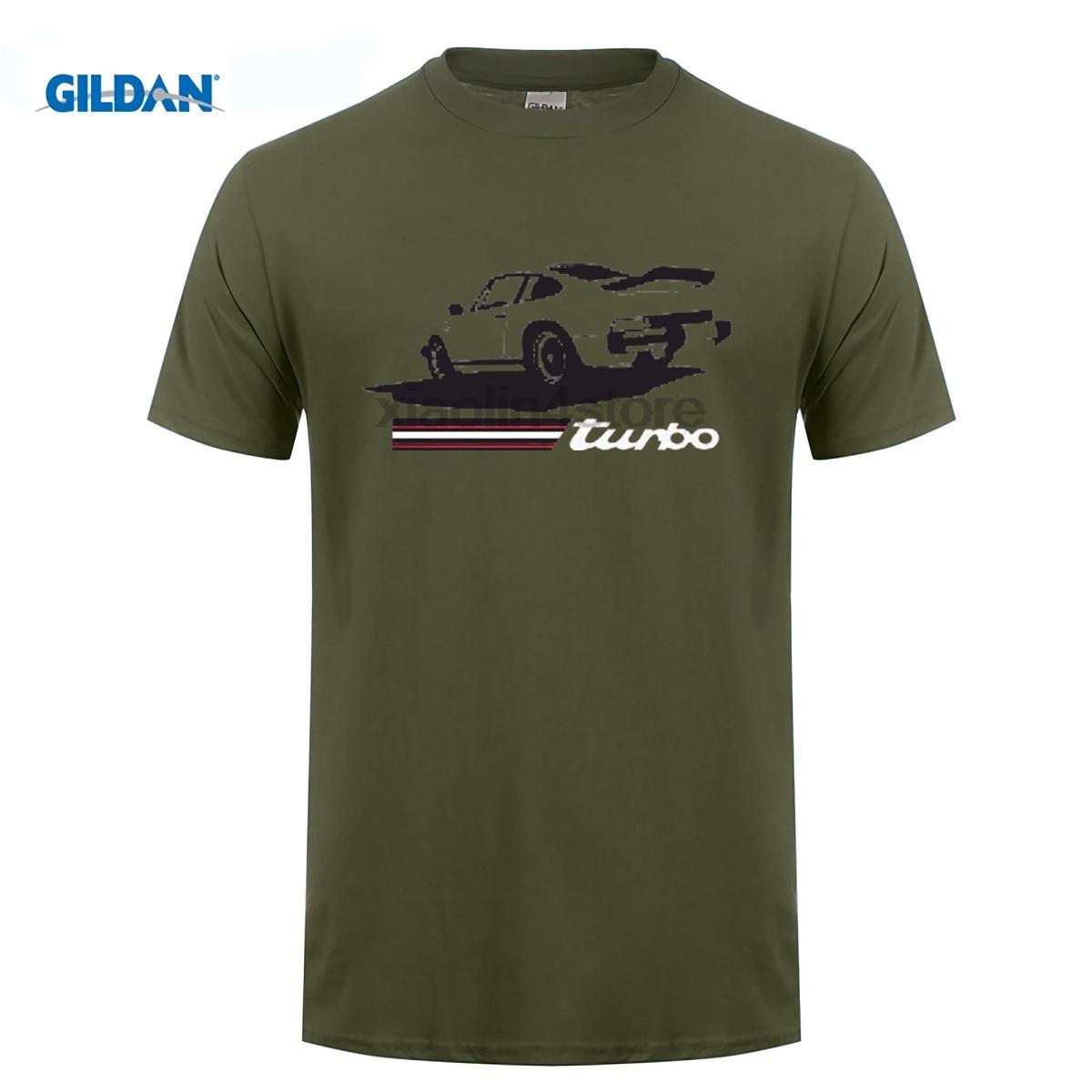 GILDAN DIY style mens t shirts Newest Letter Print Short Sleeve T Shirt Men 911 Turbo Old School Retro Car Cheap T Shirt Design