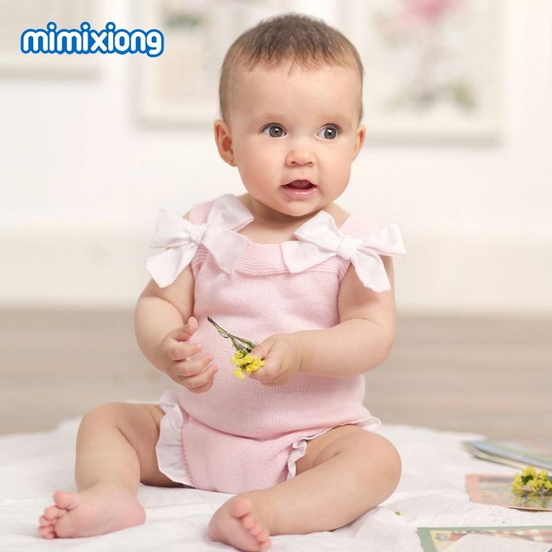 Baby Girls Summer Onesie Pink Bowknot Toddler Princess Bodysuit Birthday Party Newborn Infant Overalls Knit Children's Jumpsuits