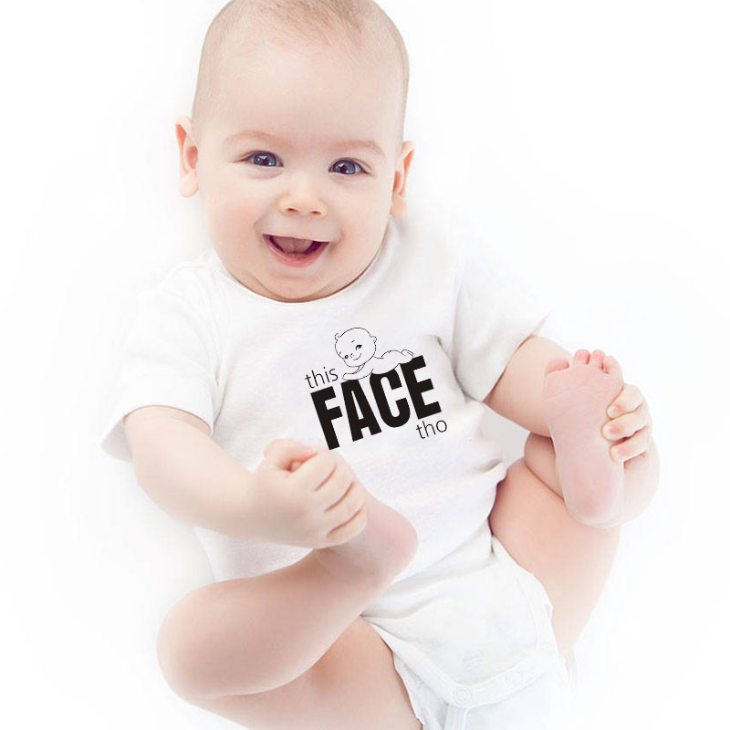HY0055 This Face Tho Cute Baby Print Onesie Summer Unisex Baby Rompers New Baby Gift
