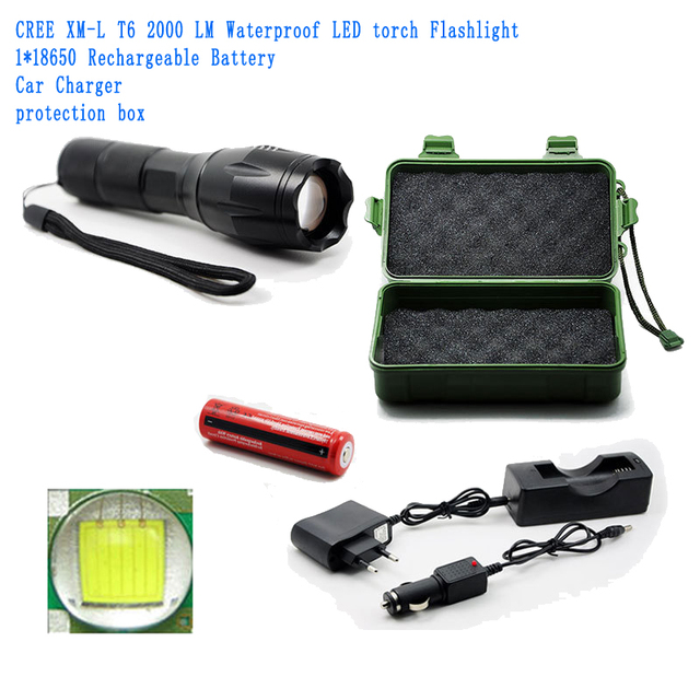 E17  XM-L T6 3800Lumens cree led Torch Zoomable cree LED Flashlight Torch light+18650 Rechargeable Battery+Charger+Gift box