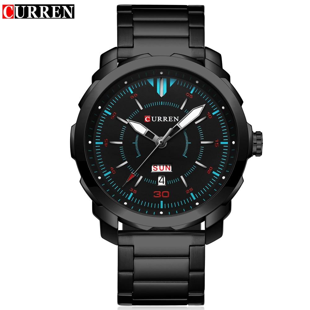 Curren mens relojes Top marca de lujo deportivo reloj de cuarzo 3atm impermeable hombres de acero inoxidable reloj Relogio Masculino