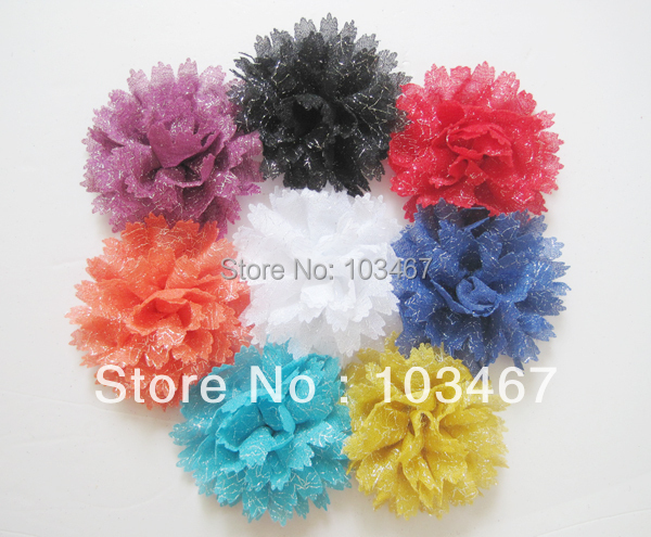 Newest flower 60pcs/lot Lowest Price 8 colors 4.5'' sliver lurex  chiffon Flowers Without  Clip lowest price