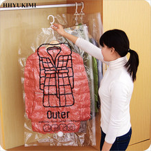 HHYUKIMI Side Zipper Hanging Vacuum Storage Bag Closet Space Saver Organizer Holders Anti-Dust moisture Bags Pack For Garment(China)