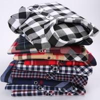 EYM Brand Flannel Plaid Shirt Men Cotton 2017 Autumn New Male Casual Long Sleeve Shirt Plus