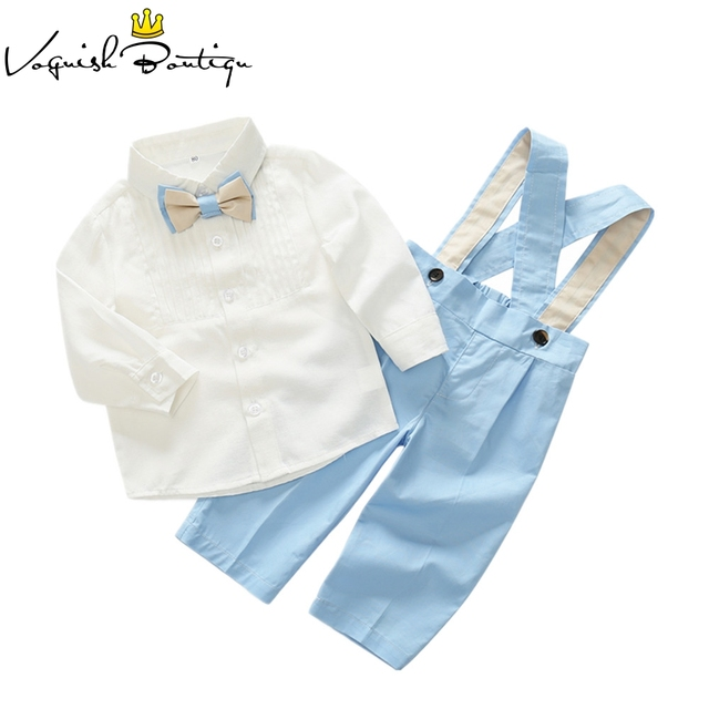 Kids clothes baby gentleman kids clothing set cotton shirt with bow and overalls party and wedding clothes for baby boys