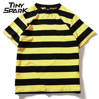 Yellow Black Red White Striped T Shirt Cotton Vintage Hip Hop Harajuku Tops Tee Men Women