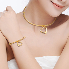 316L Stainless Steel Gold/Silver Color Heart Charms Choker Necklace and Bracelet Jewelry S