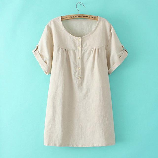 Plus Size 3XL-6XL mulheres t-shirts 2016 verão de manga curta básica T damasco Tops da mulher de linho de algodão