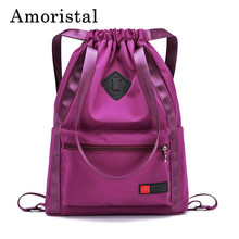 Women Drawstring Bags Fashion Simple Pocket DrawString Girl Schoolbag Nylon Backpack Shoulder Folding Waterproof Backpack B234
