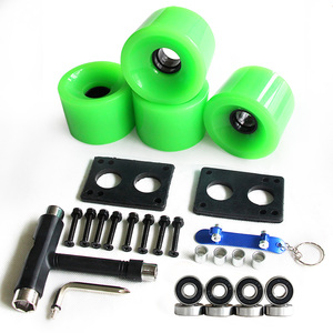Image 4 - Longboard Wheels Set 70mm 78A Colorful PU Skateboard Wheels Transparent With Riserpad And Bearing Bolts Screws