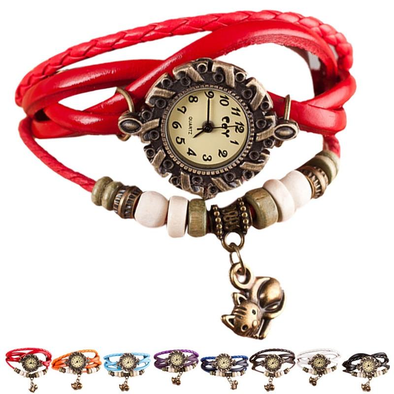 Ladies Quartz Watch Gift Female Clock Fashion Weave Around Leather Cat Bracelet Watch Woman Wrist Watch