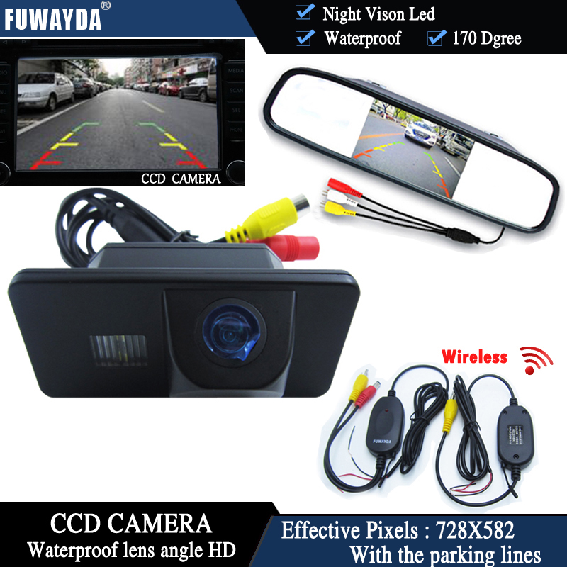 FUWAYDA wireless CCD Car RearView Camera for BMW E81 E87 E90 E91 E92 E60 E61 E62 E63 E64 X5 X6+4.3 Inch rearview Mirror Monitor plusobd car recorder rearview mirror camera hd dvr for bmw x1 e90 e91 e87 e84 car black box 1080p with g sensor loop recording