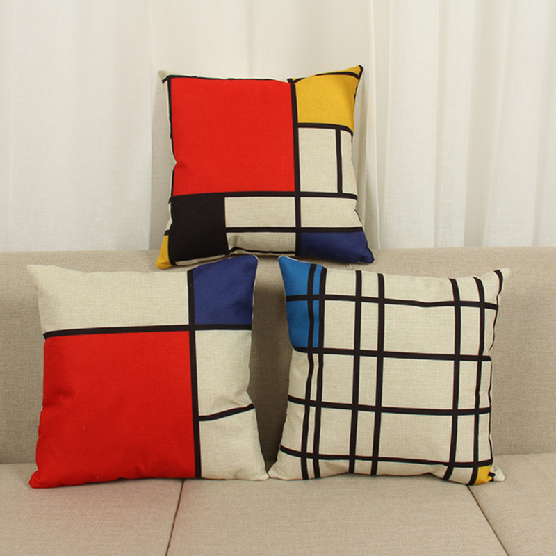 Pillow Case Modern Simple Abstract Printed Geometric Pattern Cushion Cover Cotton Linen Home Decorative Throw Pillows