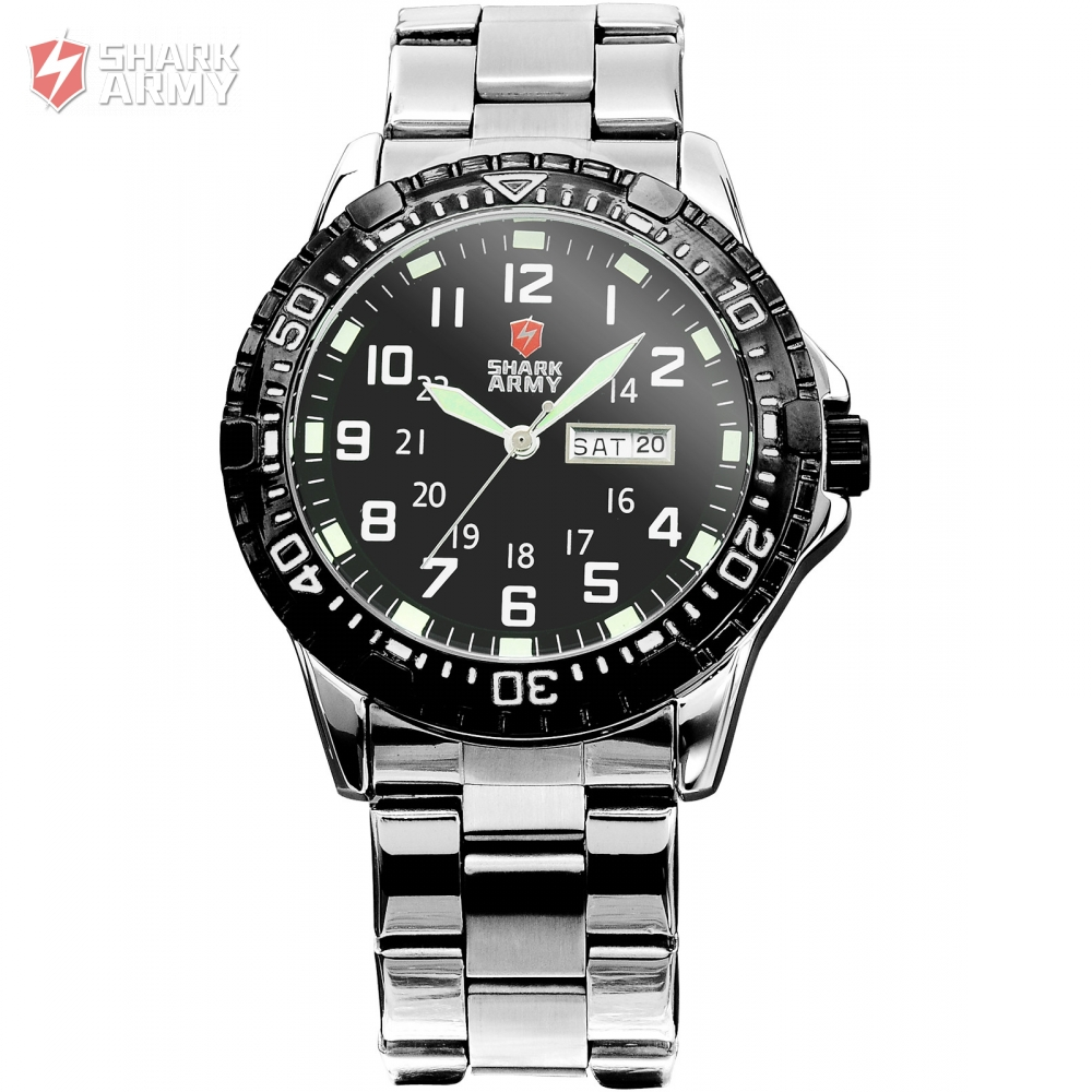 SHARK ARMY Date Day Display Stainless Steel Black Men's Military Sport Analog Quartz Wristwatch Fashion Casual Watches / SAW017 shark army brand new auto date day display leather band relogio analog montre homme men quartz sport military wristwatch saw122