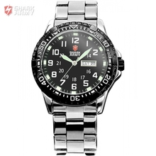 SHARK ARMY Date Day Display Stainless Steel Black Men's Military Sport Analog Quartz Wristwatch Fashion Casual Watches / SAW017
