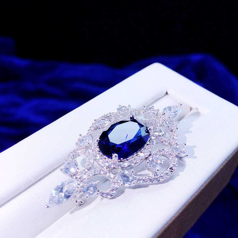 Asnora Zircon Azul Medalla Brocade Hombres Y Mujeres Temperamento Salvaje Sederhana Traje Ropa Pin Con Brocade De Joyeria