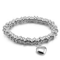 Fashion elastic sterling silver bracelet solid 925 silver bracelet woman.Contracted heart shaped pendant bracelet.Silver jewelry