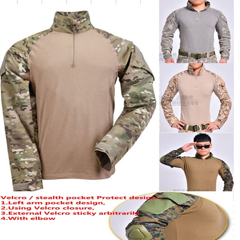 Mens's Rapid Operational USMC FROG II Military Tactical Combat Airsoft Paintball Long Sleeve Tight T Shirt W/ Elbow pad hunting