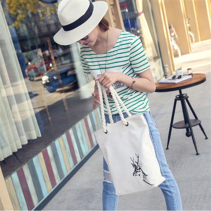 Fashion Casual Women Print Large Capacity Tote Canvas Shoulder Bag Shopping Bag Beach Bags Casual Tote Feminina in Top Handle Bags from Luggage Bags