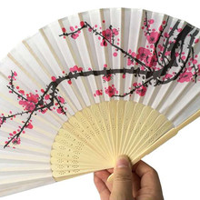 50 pcs/lot Plum flower design Elegant Folding Silk Hand Fan with Organza Gift bag Wedding Favor gift(China)