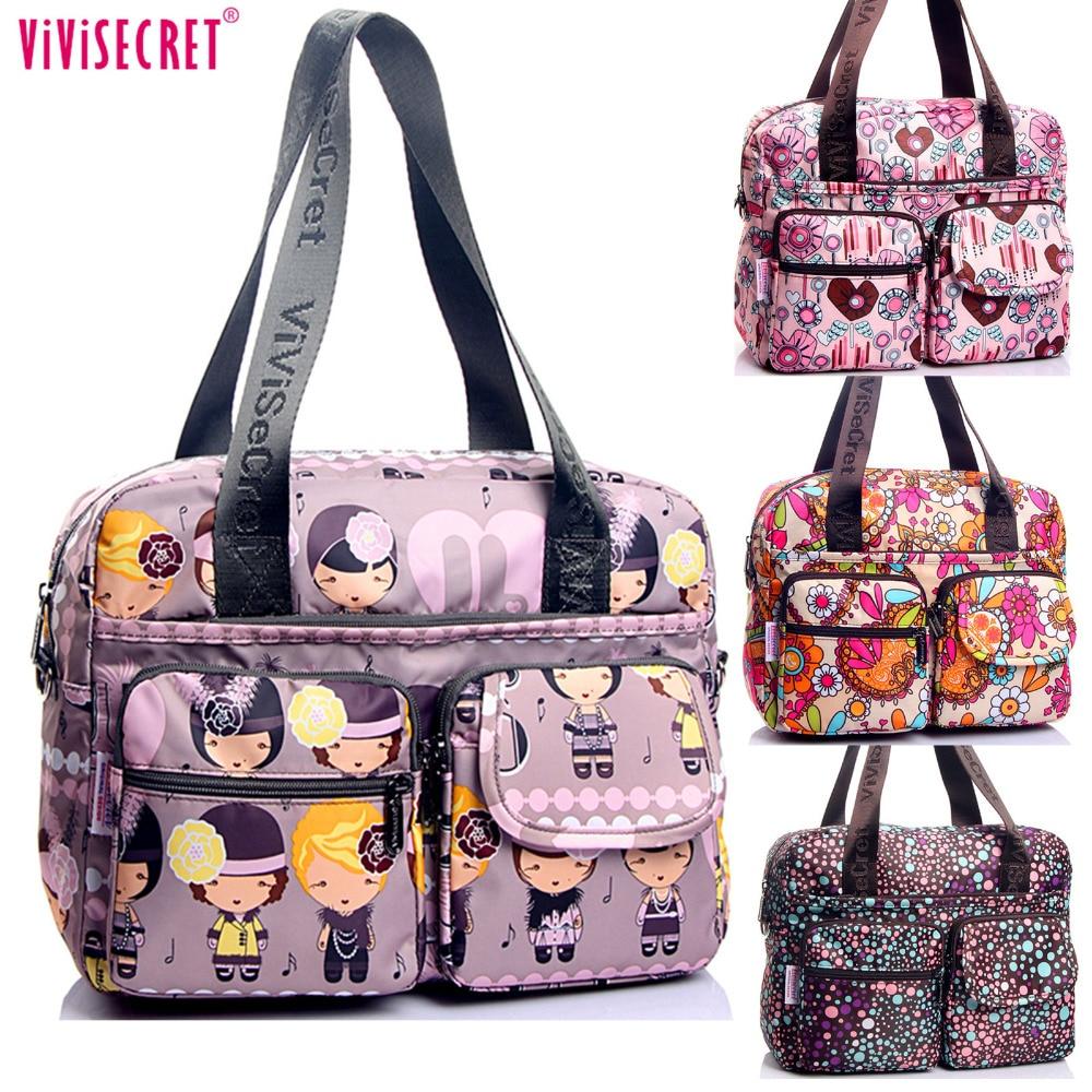 Women Nylon Waterproof Cartoon Floral Printing Shoulder Messenger Bags Cossbody Satchels Travel Mother s Bag Bolsos
