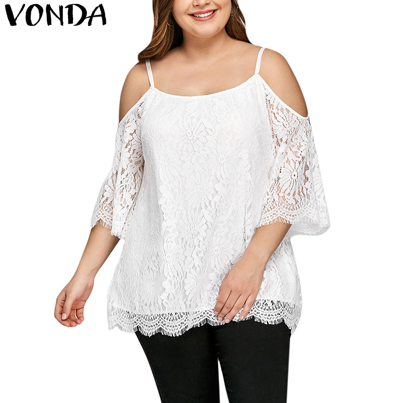 Women's Clothing Strong-Willed Women Blouses 2019 Sexy Fashion Lace Crochet Shirts Female Casual Loose Off Shoulder Shirt Tops Plus Size Blusas Femininas Lovely Luster