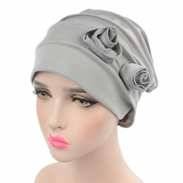 Cancer Chemotherapy cap Patient hat Muslim solid color Turban Head Wrap Cap  Knitted hat Double Flower Beanie Hats 71ea5f13986
