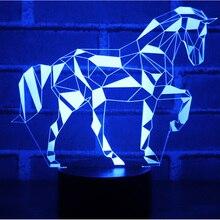 3D светодио дный светодиодный ночник пазл лошадь головоломка с 7 цветов свет для украшения дома лампа удивительная визуализация Оптическая иллюзия