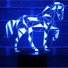 3D LED Night Light Jigsaw Horse Puzzle with 7 Colors Light for Home Decoration Lamp Amazing Visualization Optical Illusion