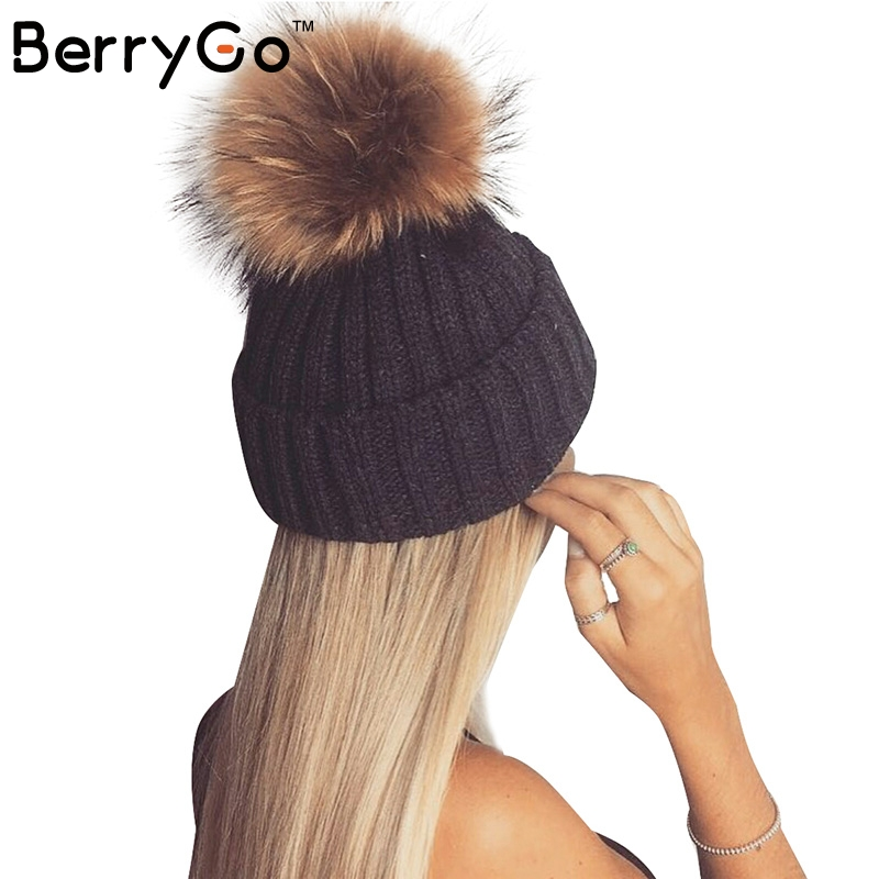 BerryGo Removable real fur pompon Warm stocking hat 2016 autumn cap winter hat female Bobble hats