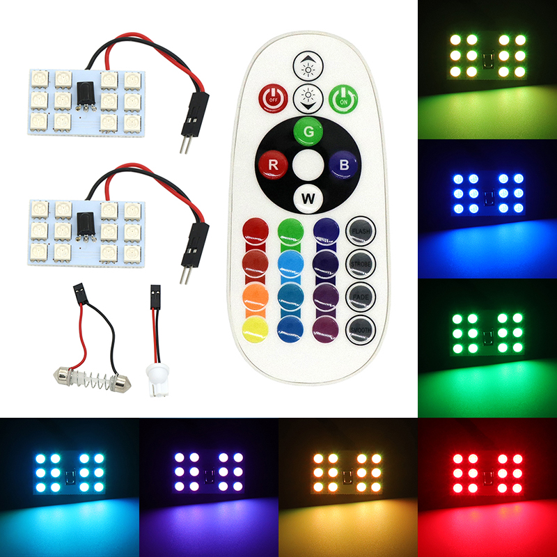 1 set T10 5050 12SMD 16 Colors RGB LED Panel Car Auto Interior Reading Map Lamp Bulb Light Dome Festoon Remote Controller Flash cawanerl car 5630 smd led kit package for toyota rav4 2006 2012 auto map dome courtesy cargo light white interior led bulb