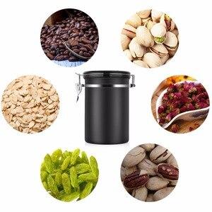 Image 2 - Recipiente de feijão café grande hermético aço inoxidável café chá sortage vasilha preto cozinha sotrage para organizador cozinha