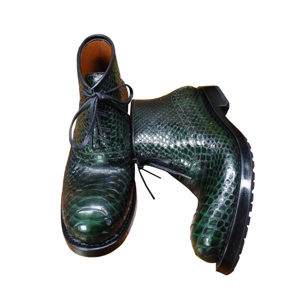 Sipriks Luxury Brand Mens Real Snakeskin Boots Dark Green Designer Boots European American Indian Work Boots Python Leather Shoe