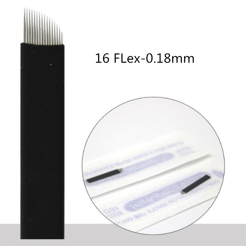 Image 5 - 500 Pcs 0.18mm Black Flex 7/9/11/12/14/16/17/18/21 Needle Eyebrow Tattoo Microblading Blades For Permanent Makeup Manual Pen-in Tattoo Needles from Beauty & Health