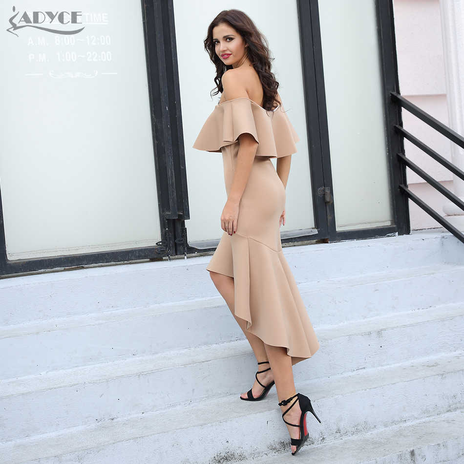 Adyce 2019 новые летние элегантные туфли в стиле знаменитостей; Вечеринка платье с русалочкой Для женщин пикантные туфли, цвет: розовый, хаки с кружевным гофрированным воротником Клубное платье Vestido