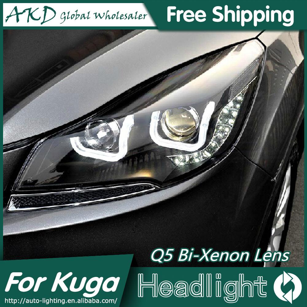 Akd car styling for ford escape headlights 2014 new kuga angel eye headlight drl bi xenon