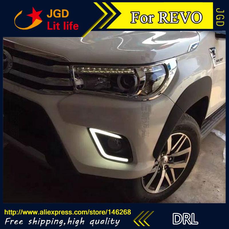 Free shipping ! 12V 6000k LED DRL Daytime running light for Toyota REVO 2016 fog lamp frame Fog light Car styling
