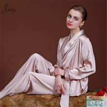 Summer New Pajamas Set Women Rayon Suit Lady 2PCS Sleepwear Sexy Shirt&Pant Pink Home Wear Solid Color Clothes