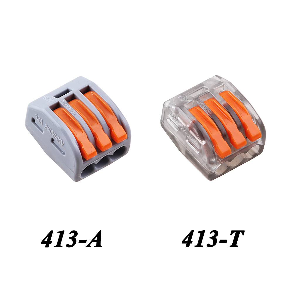 10PCS WAGO mini fast Wire Connector,222-413(PCT213) Universal Compact Wiring Connector 3 Conductor Terminal Block Transparent 10 pieces lot 222 413 universal compact wire wiring connector 3 pin conductor terminal block with lever awg 28 12