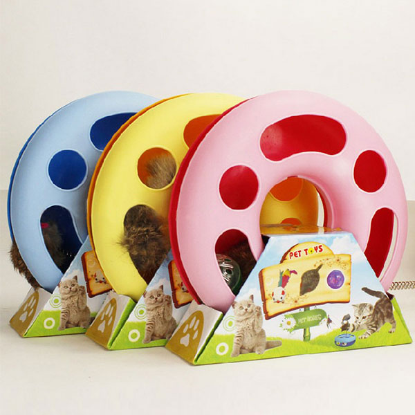 New Creative Funny Pet Kettle Cat Toy Spring Mice Crazy Amusement Disk Multifunctional Disk Play Activity