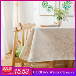 UFRIDAY Modern Christmas Tablecloth Waterproof Thick Table Cloth Red Jacquard Wedding Table Cover Hotel Home Party Decoration