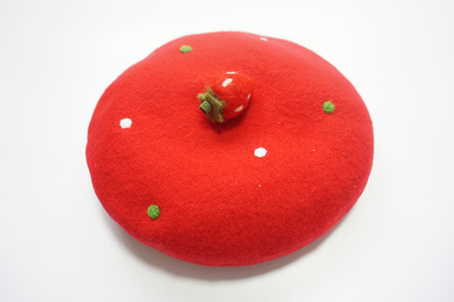 Woman Winter Beret Hats Berets Elegant French Beret Red Strawberry Hat Baret Caps Boinas Mujer Christmas Cap