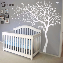 Large White Tree Birds Vintage Wall Decals Removable Nursery Mural Wall Stickers for Kids Living Room Decoration Home Decor
