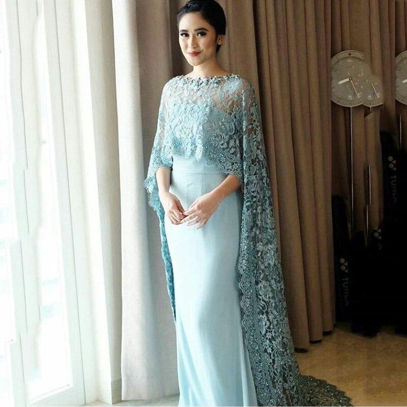 2017 bleu clair élégant dentelle longue Cape robes de soirée longue droite femmes soirée formelle robe avec longue Cape Maxi robe Vestidoa