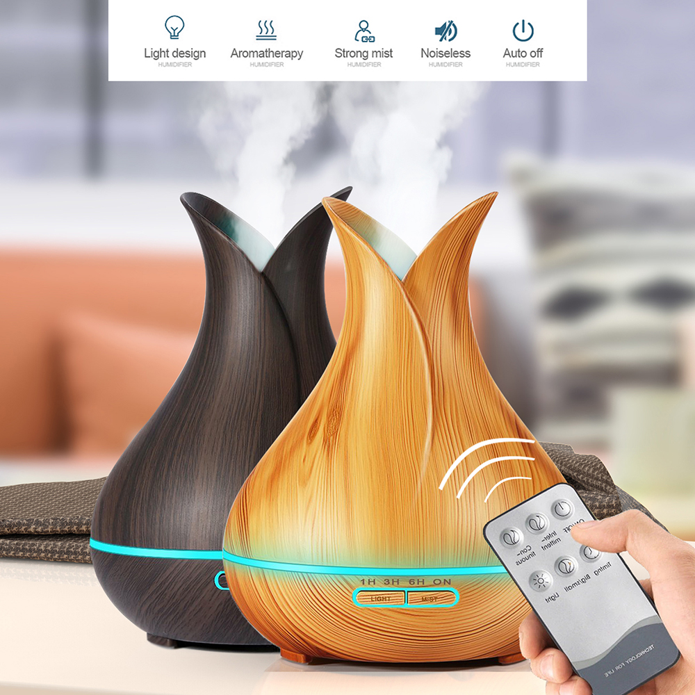 HOOMIN Aroma Essential Oil Diffuser Ultrasonic Air Humidifier with Wood Grain 7 Color LED Lights for Office Home USB Electric