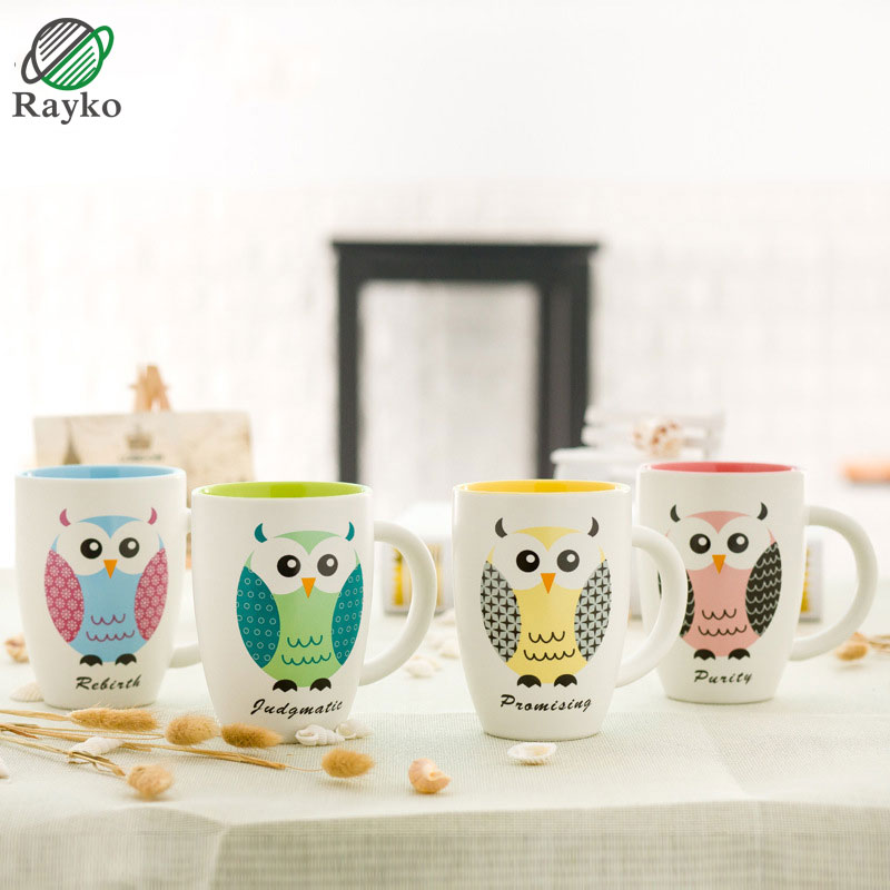 1Pcs Novelty Cute Owl Animal Milk Mug Ceramic Creative Coffee Porcelain Tea Cup With Spoon Lid Nice Gifts